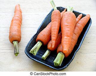 cenouras, encaixotado, supermercado