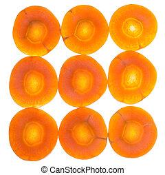 cenouras, isolado, cortado, fresco, branca, vários