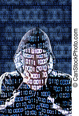 Censored hacker with binary codes in background