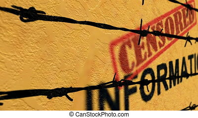 Censored information text against barbwire