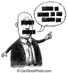 A cartoon man whose face and words have been redacted.
