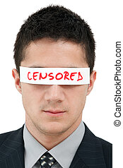 Censored - Young businessman with a band on his eyes