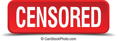 censored red three-dimensional square button isolated on white background