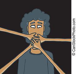 Cartoon illustration of hands censoring a man in the dark