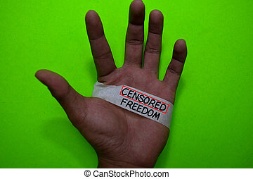 censuré, écrire, main, bande, liberté, homme