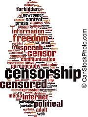 censura, palavra, nuvem