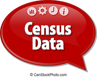 Speech bubble dialog illustration of business term saying Census Data