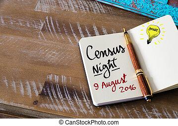 census, noche, 9, agosto, 2016, australia, escrito, en, cuaderno, página