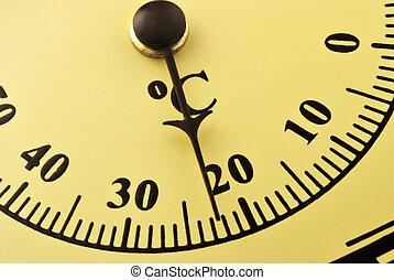 centígrado, análogo, termómetro