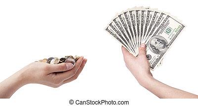 cent, argent, dollar, américain, fond, factures