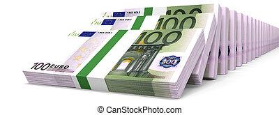 cent, argent., piles, euros., une