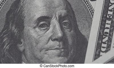 cent, benjamin, dollars, haut, franklin, une, rotating., video., dollars, fin, 4k, lent, note