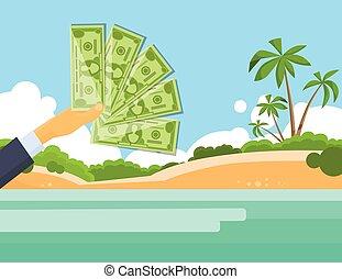 cent, billet banque, île, dollars, une, exotique, main, 100, prise