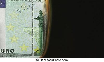 cent, brûlé, billet banque, euro