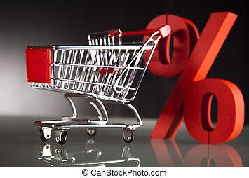 cent, charrette, achats, supermarché