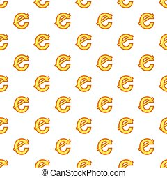 Cent currency symbol pattern, cartoon style