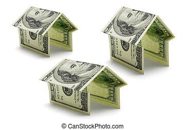 cent dollars, nous, notes, dans, formes, de, maisons
