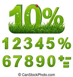 cent, ensemble, herbe verte