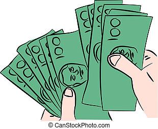 cent, factures, dollar, poignée, une