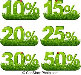 cent, herbe, vert, collection
