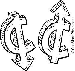 cent, monnaie, valeur, croquis