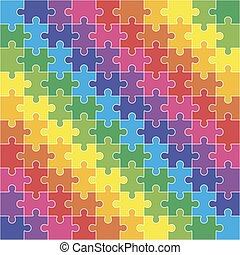 cent, seamless, formes, coloré, une, vide, puzzle