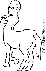 Centaur - Funny picture of centaur wearing glasses on white...