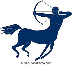 Centaur - Blue silhouette of a centaur shooting arrow from a...