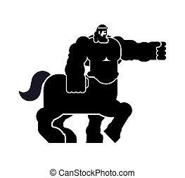 Centaur Heraldic animal silhouette. half-man half horse...