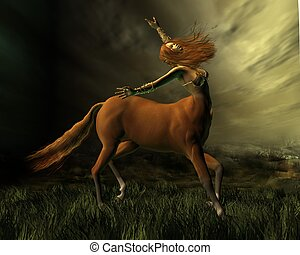 Centaur in the Storm - Female centaur facing into a storm,...
