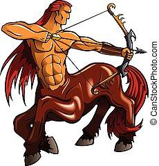 Centaur with bent bow, fantasy creature, vector illustration