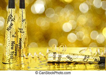 centelleo, nuevo, oro, plano de fondo, años