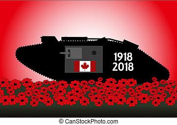 centenary, canadiense, tanque, grande, conmemoración, guerra