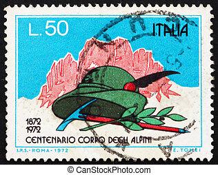 centenary, korpus, włochy, tłoczyć, -, 1972, kapelusz, laur, kopać, 1972:, drukowany, circa, alpinist's, widać, góry, alpejski