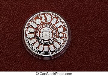 centenary, tio tusen, femte, pesetas, mynt, spanien