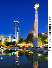 Centennial Olympic Park in Atlanta, GA. The Park was built for the Centennial 1996 Summer Olympics and remains a popular destination.