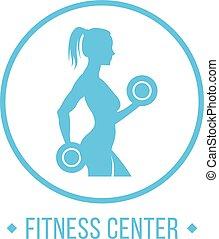 center., אישה, צללית, כושר גופני