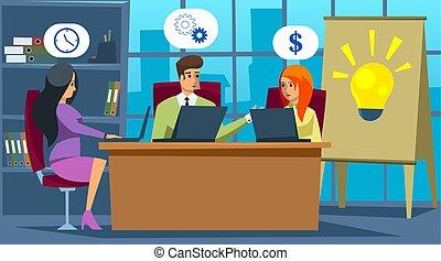 center., スペース, meeting., 話し, 共有される, コンピュータ, environment., ビジネス, 仕事, coworking, 開いた, 概念, オフィス。, 人々