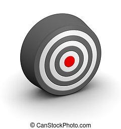 center., レンダリングした, ターゲット, 黒, 白, 3d, 赤, illustration.