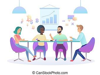 center., 仕事, ビジネス, 勾配, オフィス。, multicultural, coworking, イラスト, 創造的, 色, team., environment., 最新流行である, 共有される, ミーティング