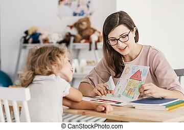 center., 家族サポート, セラピスト, 子供, 専門家, 教育, ミーティング, 持つこと, 子供