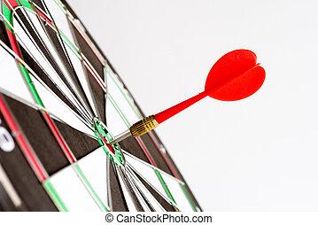 center., 打撃, ターゲット, ビジネス, concept., 勝者, 矢, の上, 緑, さっと動く, 終わり, 成功, ∥あるいは∥, 赤, ゴール
