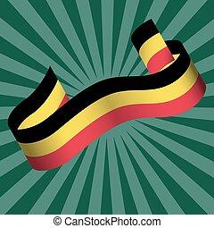 center., 暗い, 光線, 国旗, day., 色, 緑の背景, ストライプ, belgium., リボン, ベルギー人