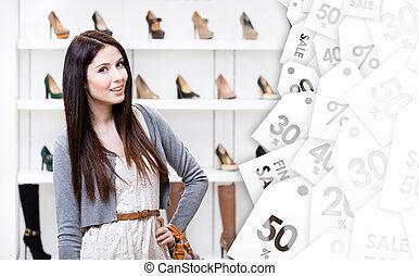 center., achats femme, vente, temps, portrait, court