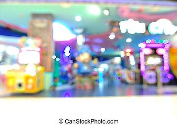 center., achats, zone, arcade, defocus, jeu, fond, barbouillage, ou