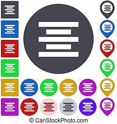 Center align icon, button, symbol set
