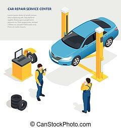 center., apartamento, isometric, jogo, serviço, pneu, reparar, car, loja, vetorial, mechanics., 3d, illustration.