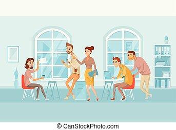 center., arbeta ämbete, folk affär, talande, coworking