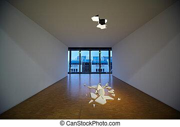 center., art, ceiling., pompidou, cassé, composition