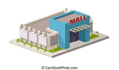 center., bâtiment, isométrique, achats, moderne, illustration, centre commercial, vecteur